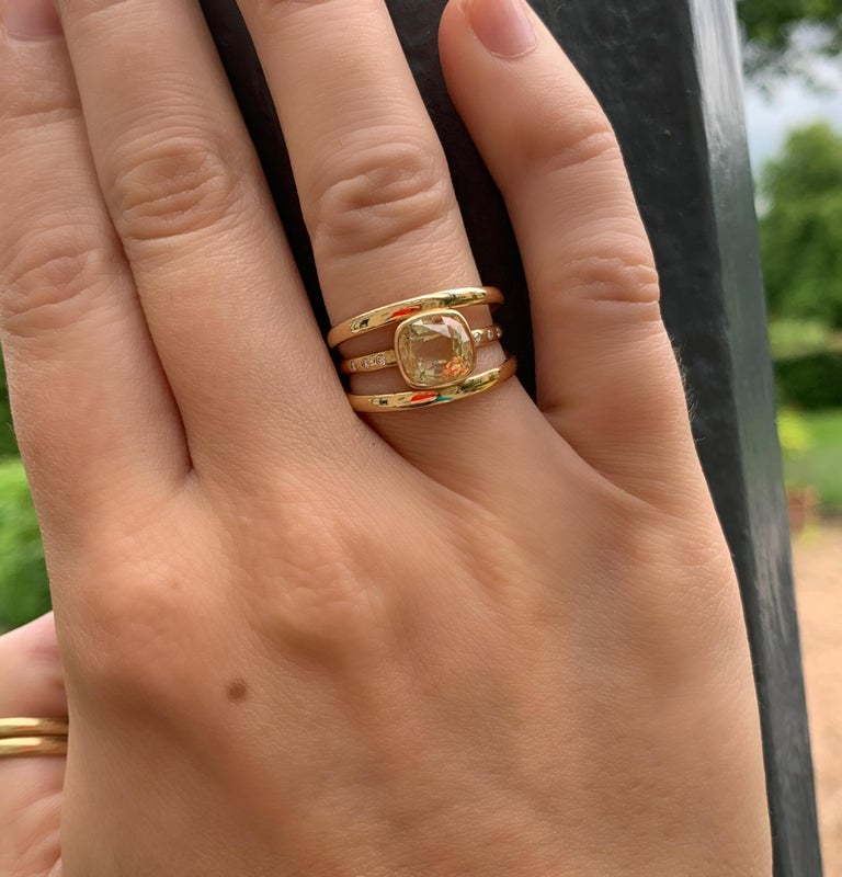 Cushion Cut Yellow Sapphire and Diamond 3-Band Ring For Sale 5
