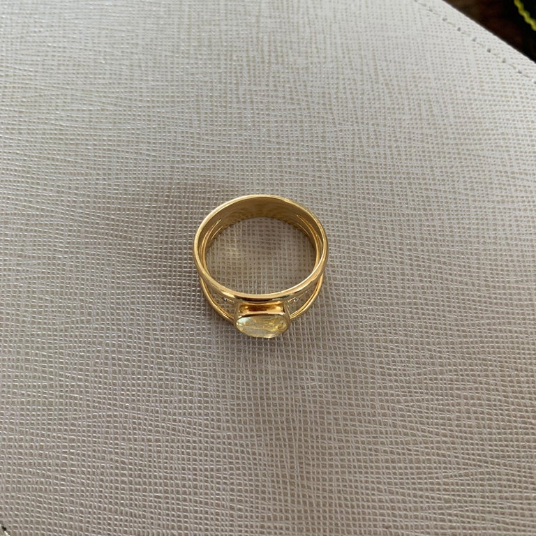Cushion Cut Yellow Sapphire and Diamond 3-Band Ring For Sale 2