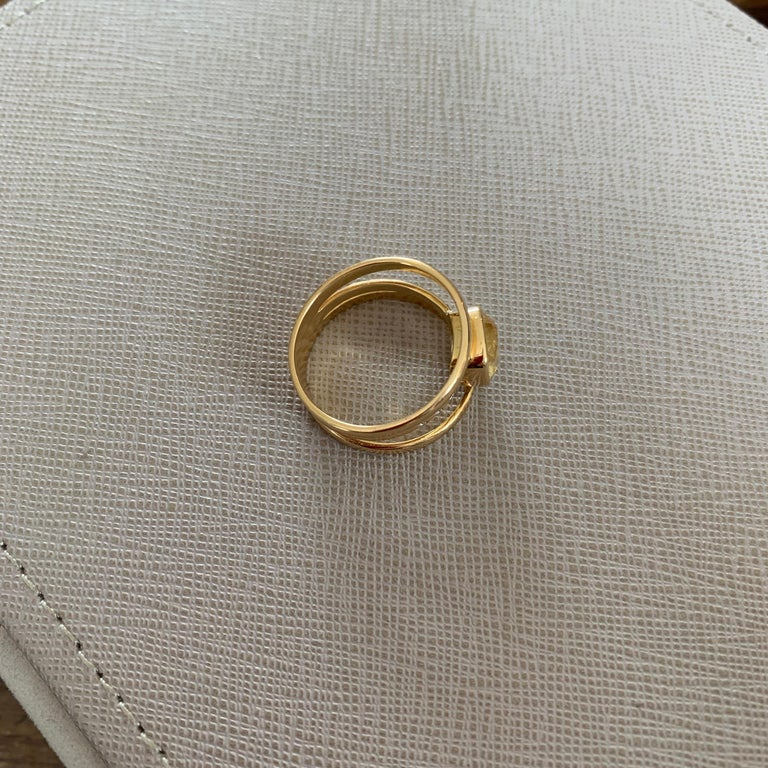 Cushion Cut Yellow Sapphire and Diamond 3-Band Ring For Sale 3