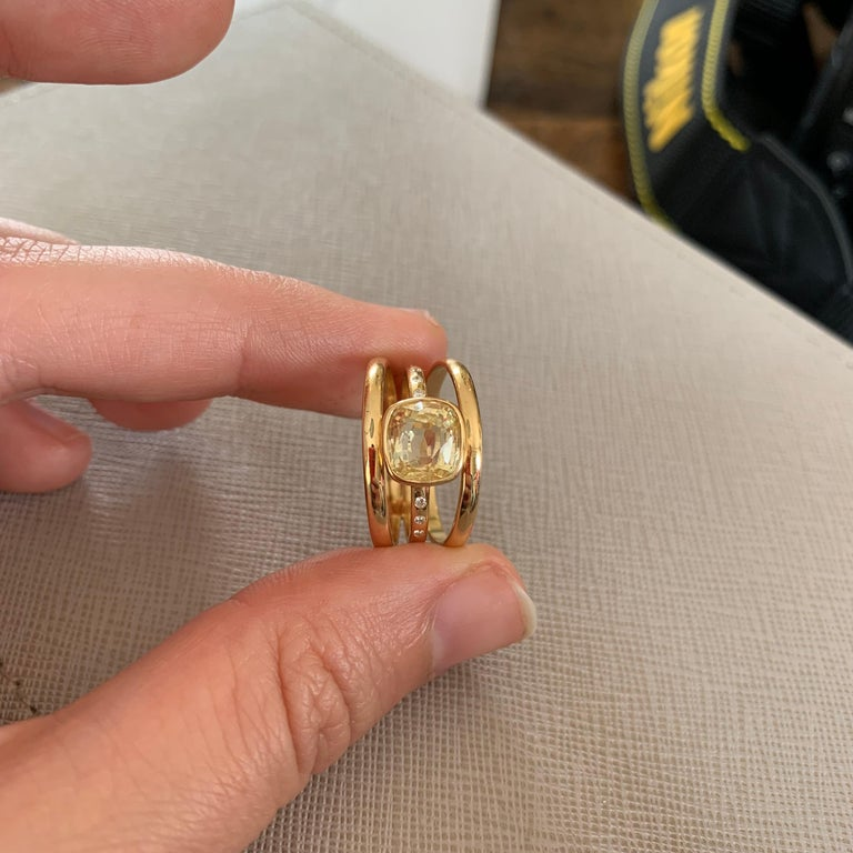 Cushion Cut Yellow Sapphire and Diamond 3-Band Ring For Sale 6