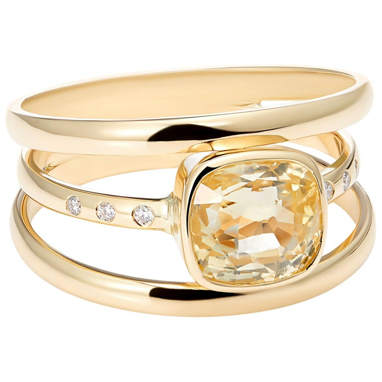 Cushion Cut Yellow Sapphire and Diamond 3-Band Ring For Sale