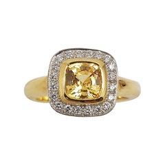 Cushion Cut Yellow Sapphire with Diamond Ring Set in 18 Karat Gold Settings
