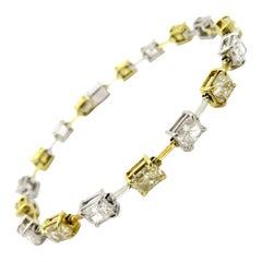 Cushion Cut Yellow & White Diamond Fashion Tennis Bracelet Platinum/ 18K TT Gold