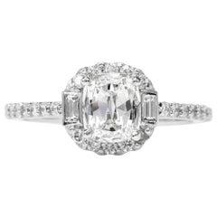 Cushion Diamond Baguette Halo Platinum Engagement Ring