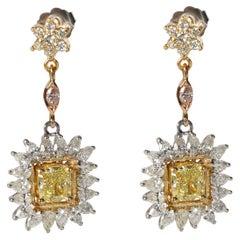 Cushion Diamond Drop Earrings in 18 Karat Gold Fancy Yellow IF 4.39 Carat