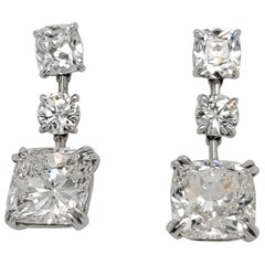 Cushion Diamond Drop Earrings with 13.16 Carat Total
