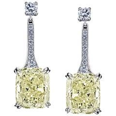 Cushion Diamond Drop Earrings with 18.27 Carat Total