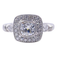 Cushion Diamond Engagement Ring 1.20 Carat 18 Karat White Gold