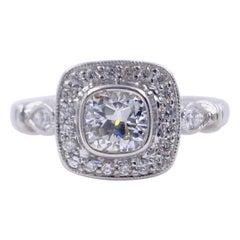 Cushion Diamond Engagement Ring 1.20 Carat 18 Karat White Gold