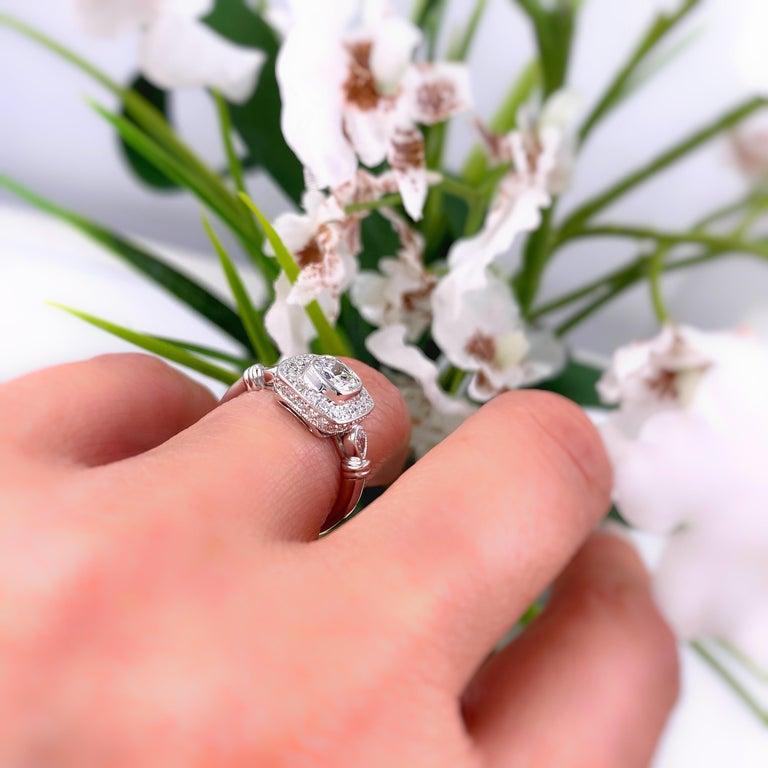 Cushion Diamond Engagement Ring 1.20 Carat 18 Karat White Gold For Sale 7