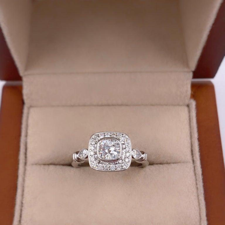 Cushion Cut Cushion Diamond Engagement Ring 1.20 Carat 18 Karat White Gold For Sale