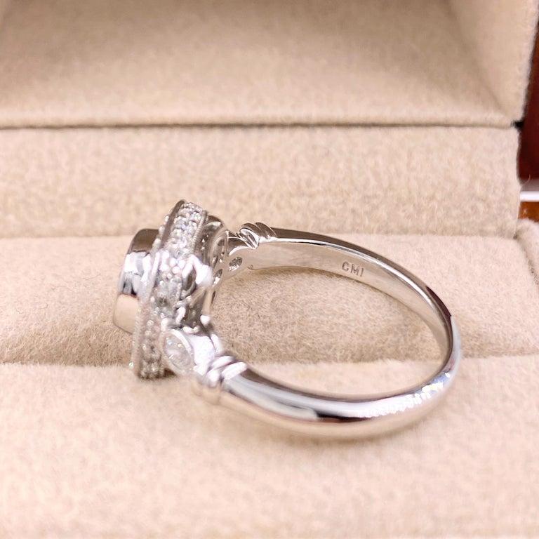 Cushion Diamond Engagement Ring 1.20 Carat 18 Karat White Gold For Sale 3