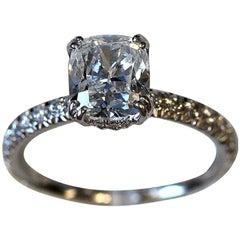 Cushion Diamond Engagement Ring, 2.5 Carat TW E VS1