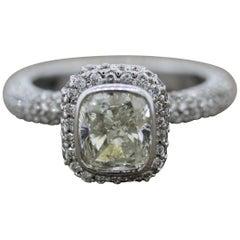 Cushion Diamond Gold Bezel Set Engagement Ring