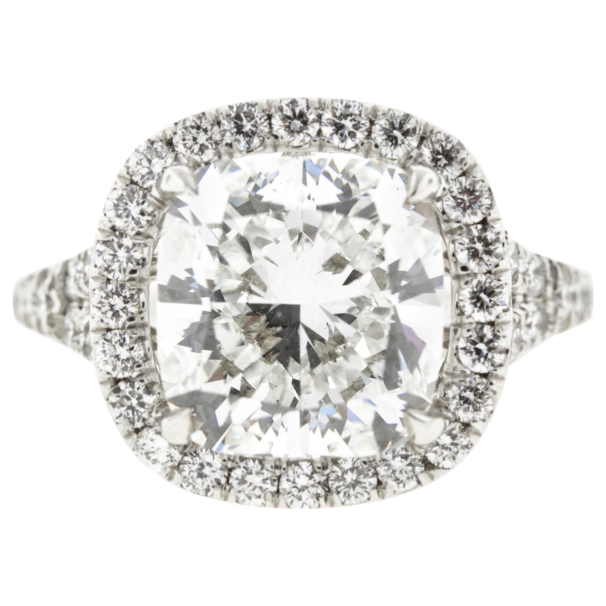 Cushion Diamond Halo Engagement Ring, GIA Certified
