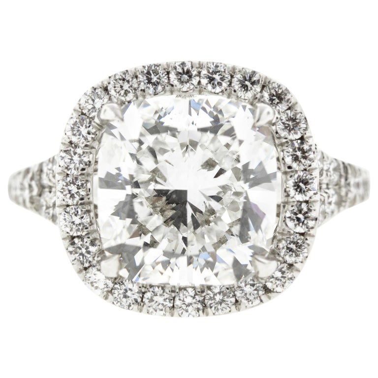 Cushion Diamond Halo Engagement Ring, GIA Certified For Sale
