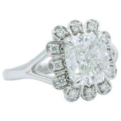 Cushion Diamond Halo Engagement Ring with IGI Certified