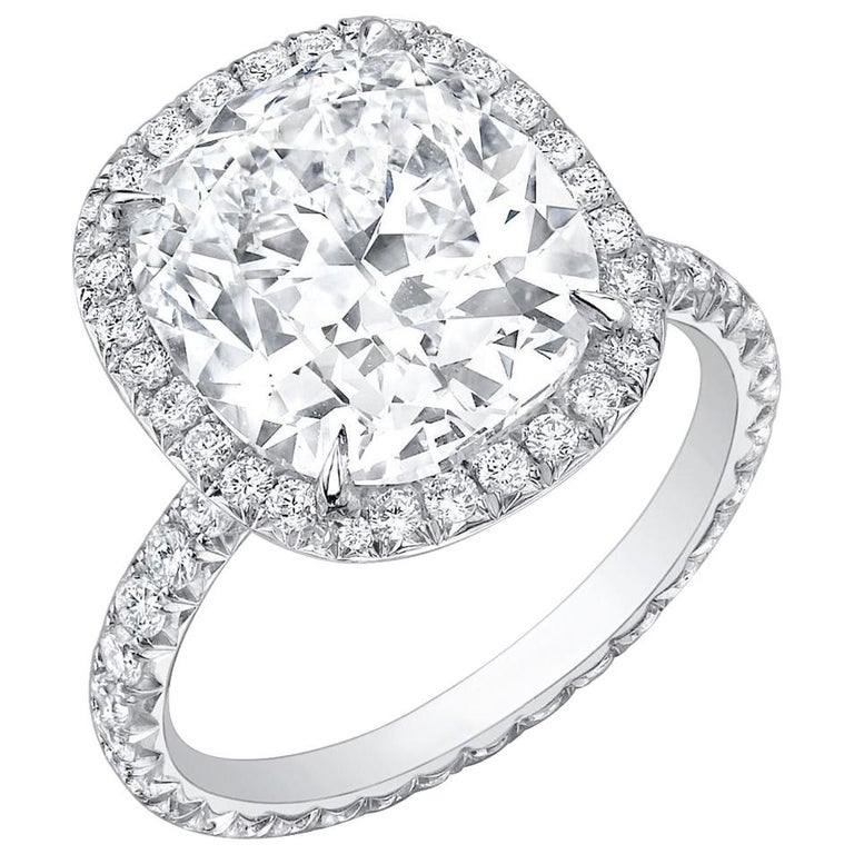 Cushion-cut diamond and platinum ring, 2019