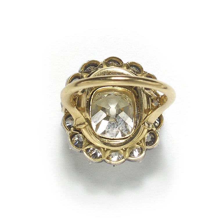 Old European Cut Cushion Diamond Silver-Upon-Gold Cluster Ring 4.18 Carat For Sale