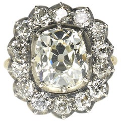 Cushion Diamond Silver-Upon-Gold Cluster Ring 4.18 Carat