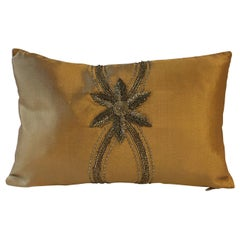 Cushion Floral Hand Embroidery on Silk Color Gold-Ginger