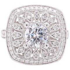 Cushion Halo Ring, Diamond, 14 Karat White Gold, Round Center, Engagement