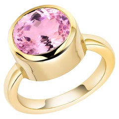 Cushion Kunzite Bezel Raised Dome Yellow Gold Cocktail Ring Weighing 5.51 Carat