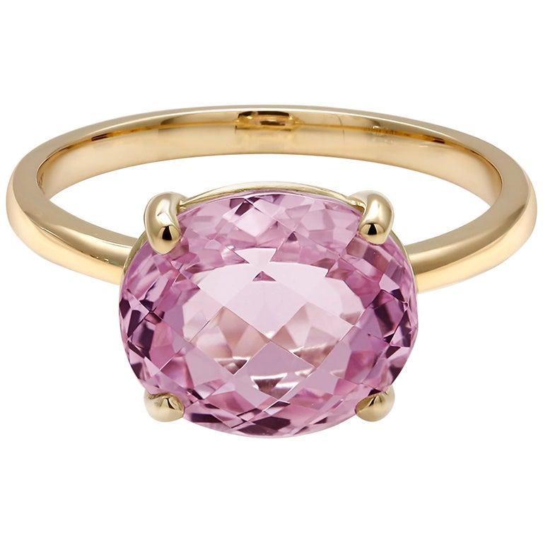 Cushion Kunzite Set in 18 Karat Yellow Gold Fashion Ring For Sale