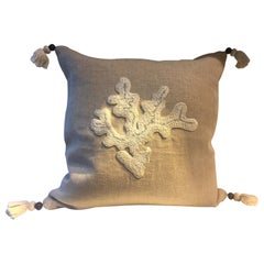 Cushion Linen Color Hemp with Coral Design French Knots Hand Embroidery