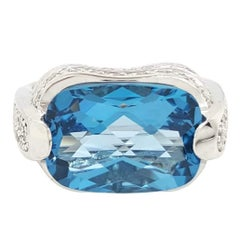 Cushion London Blue Topaz and Diamond Cocktail Ring in 14 Karat White Gold