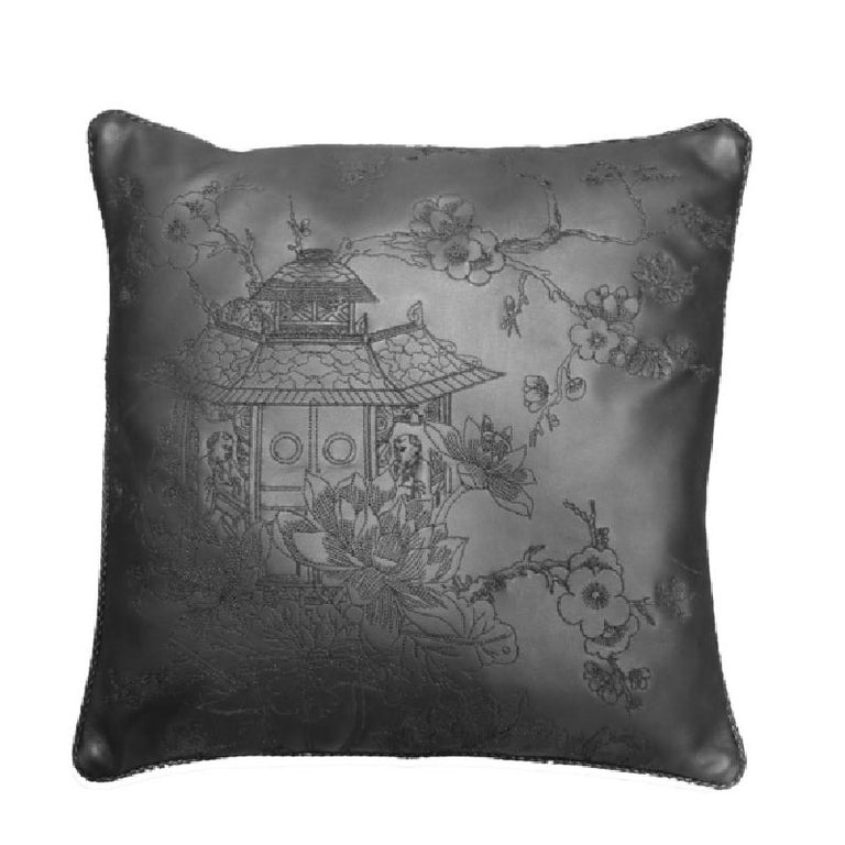 Modern Cushion Made of Vegetable Dyed Leather with Stitched Designs For Sale