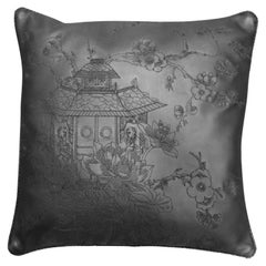 Cushion Made of Vegetable Dyed Leather with Stitched Designs