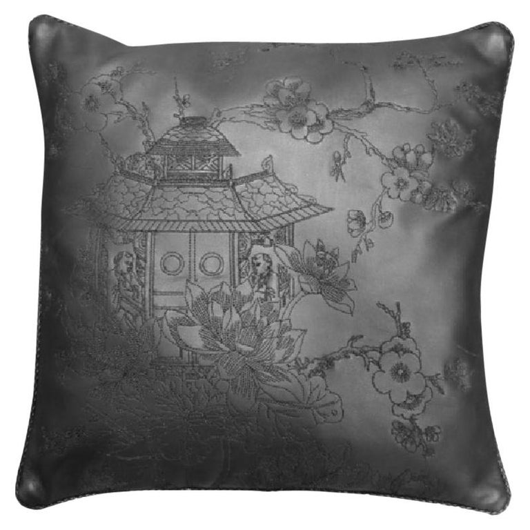 Cushion Made of Vegetable Dyed Leather with Stitched Designs For Sale