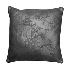 Cushion Made of Vegatble Dyed Leather with Stitched Designs