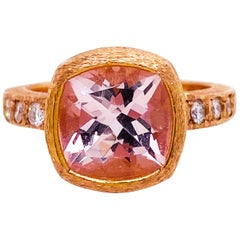 Cushion Morganite and Diamond Band 14 Karat Gold Custom Ring with Satin Finish