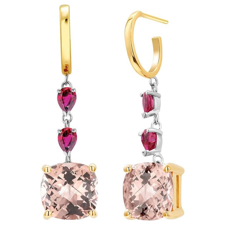 Cushion Morganite and Pear Rubies Gold Hoop Drop Earrings Weighing 8.50 Carat For Sale