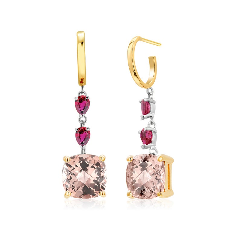 Fourteen karats yellow and white gold morganite and pear-shaped rubies hoop drop earrings  Four pear-shaped rubies weighing 1.00 carat Two cushion shape Morganite weighing 7.50 carats New Earrings One of a kind earrings  Handmade in the USA Fourteen
