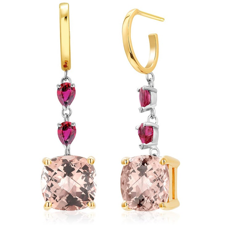 Contemporary Cushion Morganite and Pear Rubies Gold Hoop Drop Earrings Weighing 8.50 Carat For Sale