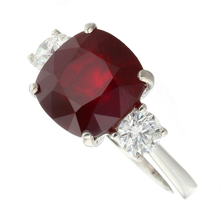 Cushion Cut Cushion Mozambique Ruby Ring with Round Diamonds For Sale