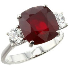 Cushion Mozambique Ruby Ring with Round Diamonds