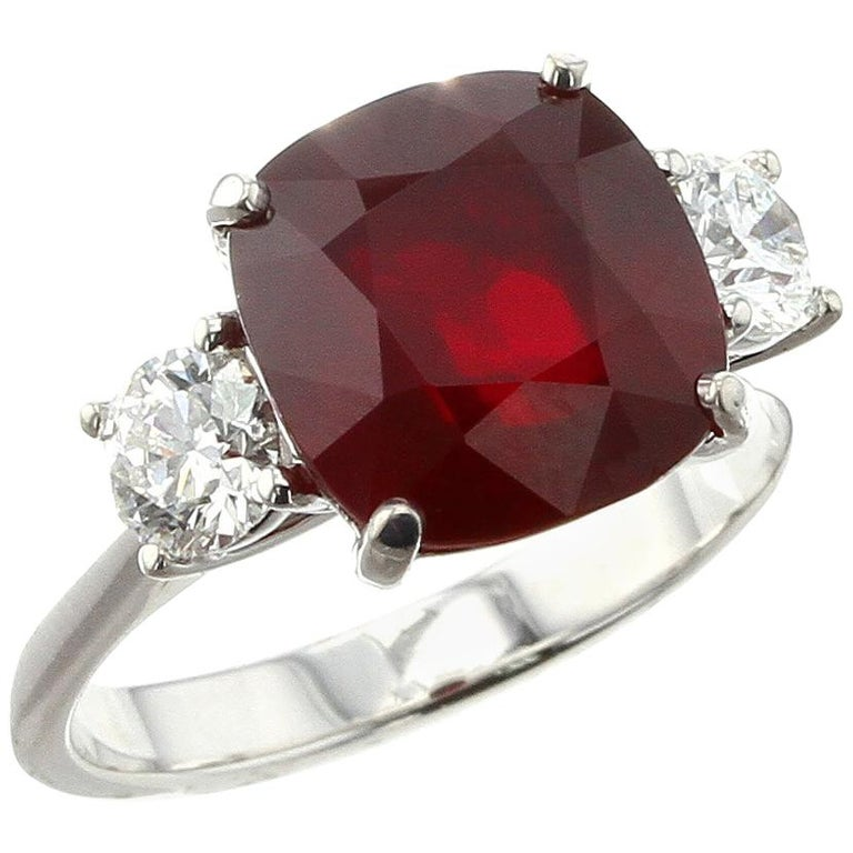 Cushion Mozambique Ruby Ring with Round Diamonds For Sale