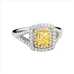 Cushion Natural Fancy Yellow Diamond Engagement Ring in 18 Karat Two Tone