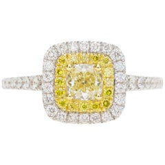 Cushion Natural Fancy Yellow Diamond Engagement Ring in 18 Karat Two-Tone