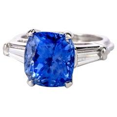 Cushion Natural No Heat Ceylon Blue Sapphire Diamond Platinum Three-Stone Ring