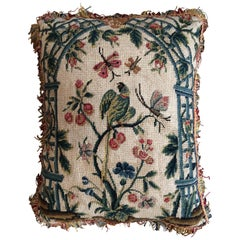 Cushion of Late 18th Century French Needlework with a Green Parakeet