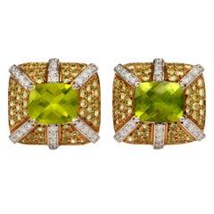 Cushion Peridot Diamond 18 Karat Gold Stud Earrings