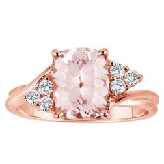 Cushion Pink Morganite Diamond Ring
