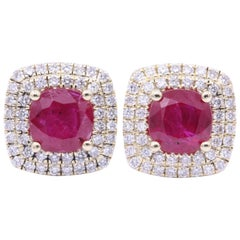 Cushion Ruby and Two Rows Diamond Halo Studs Earrings