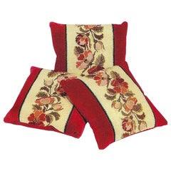 Pillow, Cushion, Set, 19 Century, French, Needlework, Crimson, Velvet