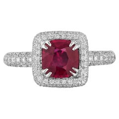 Cushion Shape 1.28 Carat Burma Ruby and Diamond Pave Cocktail Ring